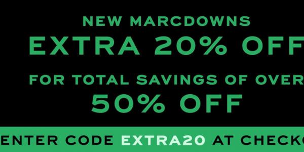 <b>Marc Jacobs:</b> Tặng code giảm 20% cho hàng sale, tiết kiệm hơn 50%