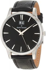 Đồng hồ Claude Bernard Men's 63003 3 NIN Classic Gents Black Dial Leather Date Watch