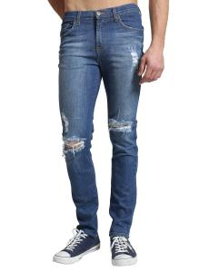 LE3NO Mens Premium Vintage Washed Skinny Denim Jean Pants