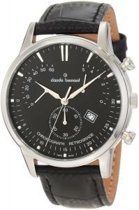 Đồng hồ Claude Bernard Men's 01506 3 NIN Classic Black Dial Chronograph Leather Watch