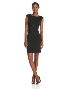 Calvin Klein Women's Cap-SleeveBelted Sheath Dress