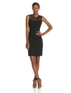 Calvin Klein Women's Petite Sleeveless Cutout-Neckline Dress