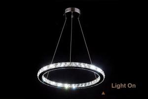 Ecopower Contemporary Mini LED Crystal Chandelier Light, Ring Design D200mm
