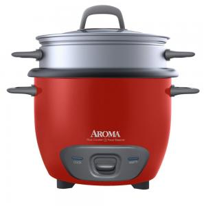 Aroma 6-Cup (Cooked) Pot Style Rice Cooker and Food Steamer, Red