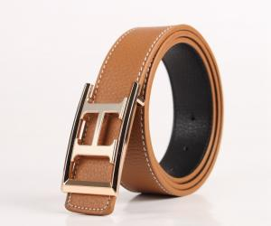 Fashion Letter-H-Frame Buckle Genuine Leather Belt Waistband