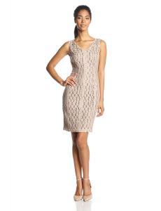 Anne Klein Women's Sleeveless V-Neck Embellished Sheath Dress