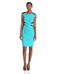 Kasper Women's Sleeveless Sheath Black Detail Dress