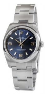 Rolex Airking Blue Arabic Dial Domed Bezel Mens Watch 114200BLASO