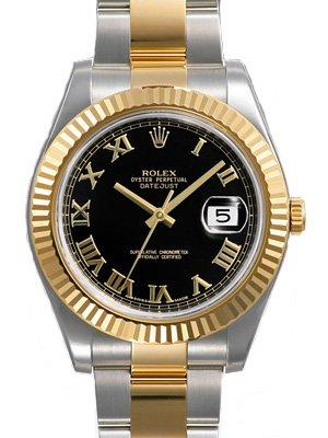 Rolex Datejust II Black Roman Dial 18k Yellow Gold Fluted Bezel Two Tone Oyster Bracelet Mens Watch 116333BKRO