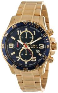 Đồng hồ Invicta Men's 14878 Specialty Chronograph Dark Blue Textured Dial Gold Ion-Plated Stainless Steel Watch
