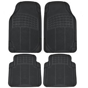 Front & Rear Car Truck SUV Premium Rubber Floor Mats - Black