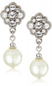 Khuyên tai 1928 Bridal Amore Simulated Pearl Drop Earrings