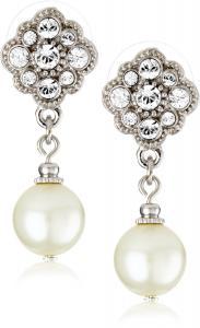 Khuyên tai 1928 Bridal Amore Simulated Pearl Drop Earrings