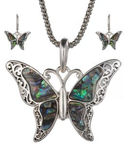Bộ trang sức Green Abalone Shell Butterfly Pendant with Popcorn Chain Necklace with Matching Earrings by Jewelry Nexus