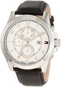 Đồng hồ Tommy Hilfiger  Men's 1710294 Stainless Steel and Leather Strap White Dial Watch