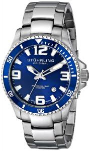 Đồng hồ Stuhrling Original Men's 395.33U16 Aquadiver Regatta Champion Professional Diver Swiss Quartz Date Blue Bezel Watch