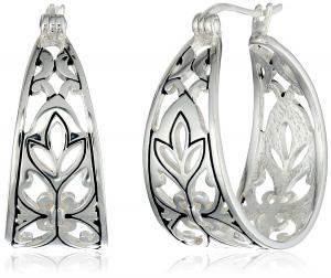 Khuyên tai Sterling Silver Bali Inspired Filigree Triangle Shape Hoop Earrings (1.0