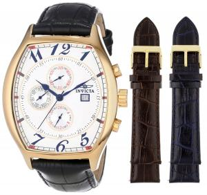 Đồng hồ Invicta Men's 14330 Specialty Tonneau Watch with 3 Textured Leather Strap Set