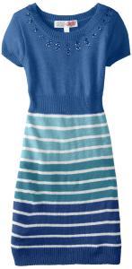 Váy Derek Heart Big Girls' Striped Cap Sleeve Sweater Dress with Neck Applique