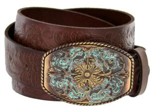 Dây lưng Men's Western Tooled Full Grain Leather Jean Belt Black Brown 1-1/2