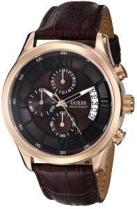 Đồng hồ GUESS Men's U14504G1 Brown Genuine Leather Chronograph Watch with Brown Dial
