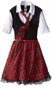 Váy Beautees Big Girls' Plaid Collared Dress with Tie