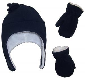 Mũ + găng tay N'Ice Caps Boys Sherpa Lined Micro Fleece Pilot Hat and Mitten Set