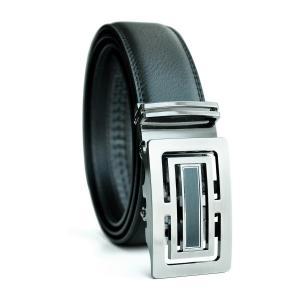 Dây lưng EazyBelt Men's Metro Leather Double Stitch Belt with Automatic Ratchet Buckle