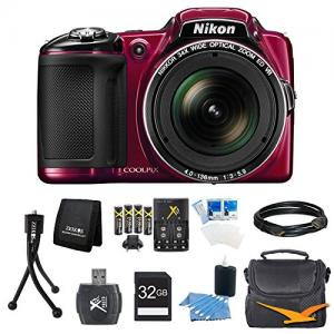 Máy ảnh COOLPIX L830 16MP 34x Opt Zoom Digital Camera Red Ultimate Kit Includes camera, SDHC memory card, Gadget Bag, battery, USB Card reader, memory card wallet, mini tripod, Mini-HDMI to HDMI A/V Cable, 3.pc screen protectors and 3pc. cleaning kit