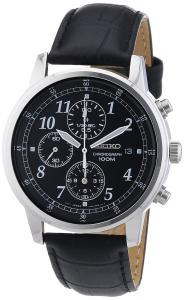 Đồng hồ Seiko Men's SNDC33 Classic Black Leather Black Chronograph Dial Watch