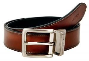 Dây lưng Nautica Mens Leather 1 3/8 Inch Heat Creased and Contrast Stitch Reversible Belt