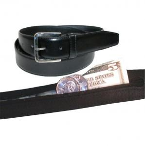 Dây lưng Men's Black Leather Money Belt Sizes 32 through 50