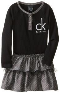 Váy Calvin Klein Little Girls' Logo Tiered Dress