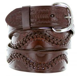 Dây lưng 2286 Western Roller-Coaster Wave Basketweave Genuine Leather Casual Jean Belt 38mm or 1-1/2