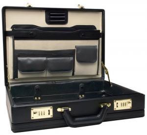 Va li RoadPro CAP-003PM/BK Premium Black Leather-Like Expandable Briefcase