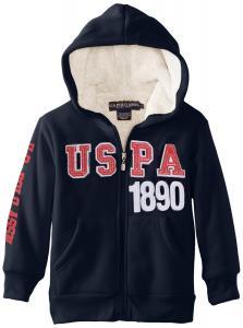 Áo khoác U.S. Polo Assn. Boy's Classic Fleece Hooded Jacket with Sherpa Lining