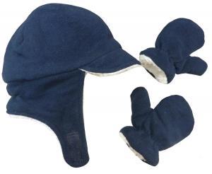 Mũ + găng tay N'Ice Caps Boy Sherpa Lined Fleece Brim Flap Hat and Mitten Set