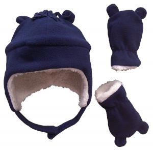 Mũ + găng tay N'Ice Caps Boys Sherpa Lined Micro Fleece Hat and Mitten Set with Ears