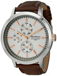 Đồng hồ Armitron Men's 20/5021SVSVBN Multi-Function Silver-Tone Dial Dark Brown Leather Strap Watch