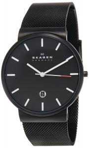 Đồng hồ Skagen Men's SKW6053 Ancher Quartz 3 Hand Date Stainless Steel Black Watch