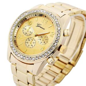 Đồng hồ Geneva Chronograph Look Watch with Crystals..Gold Tone Metal Link