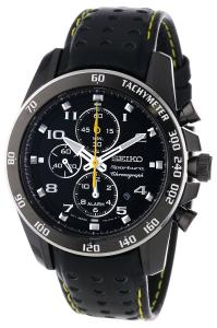 Đồng hồ Seiko Sportura Black Dial Black Leather Band Mens Watch