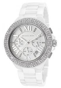 Đồng hồ Michael Kors Mid-Size White Ceramic Camille Chronograph Glitz Women's watch #MK5843
