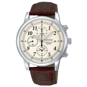 Đồng hồ Seiko Men's SNDC31 Classic Brown Leather Beige Chronograph Dial Watch