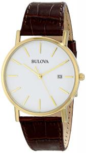 Đồng hồ Bulova Men's 97B100 Gold-Tone Stainless Steel and Brown Leather Watch