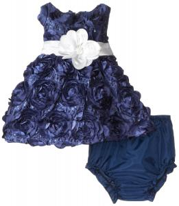 Váy Rare Editions Baby Baby-Girls Newborn Navy Soutach Social Dress