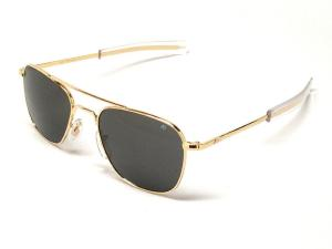 Kính mắt AO American Optical Original Pilot Sunglasses Gold 55mm Bayonet Temples