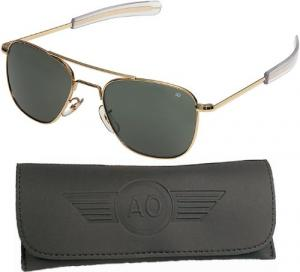 Kính mắt AO American Optical Original Pilot Sunglasses Gold 57mm Bayonet Temples