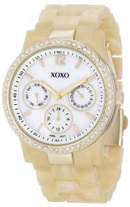Đồng hồ XOXO Women's XO5521 Plastic Horn Bracelet with Rhinestones on Gold Case Watch