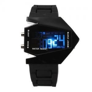 Đồng hồ Elegant Plane Style Digital Display LED Silicone Wrist Watch Black
